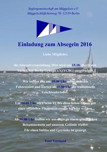Einladung zum Absegeln 2016
